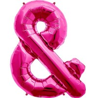 "Hot Pink Ampersand & Shape 34"" Foil Balloon"