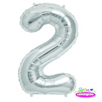 "34"" Silver Number 2 - Foil Balloon"