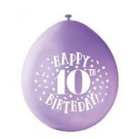"Happy 10th Birthday 9"" Latex Air Fill Balloon - Assorted Colours, Printed 1 Side - 10ct."