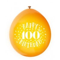 "Happy 100th Birthday 9"" Latex Air Fill Balloon - Assorted Colours, Printed 1 Side - 10ct."