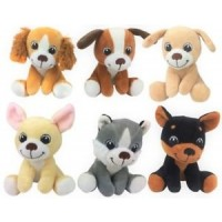Plush Sitting Puppies 15cm - 6Asst