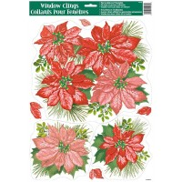 "Christmas Window Clings Sheet - Poinsetta 11.75""W x 17""H"