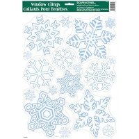 "Christmas Window Clings Sheet - Snowflake11.75""W x 17""H"