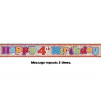 Happy 4th Birthday Prismatic Banner - 12Ft.