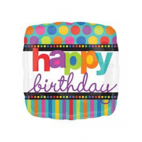 """Happy Birthday - Dots and Stripes - Square Shaped 18"""" Foil Balloon"""