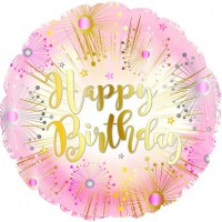 """Pink and Gold Happy Birthday 18"""" Foil Balloon"""