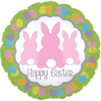 "Happy Easter 3 Bunnies 18"" Foil Balloon"