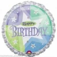 """Happy Birthday Blue and Green Holographic 18"""" Foil Balloon"""