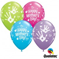 "Mother's Day Handprints 11"" Latex Balloon - Assorted Colours (25ct)"