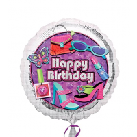 """Happy Birthday Purple and Silver 18"""" Foil Balloon"""