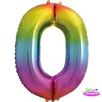 "34"" Rainbow Number 0 - Foil Balloon"