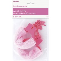 PINK FUR WRIST CUFFS BRIDE TO BE