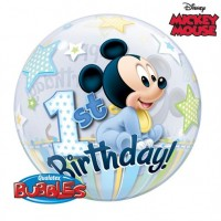 "Mickey Mouse - First Birthday 22"" Single Bubble"