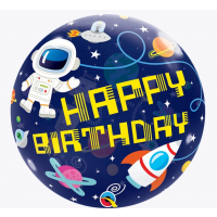 "Happy Birthday Space Themed - 22"" SIngle Bubble"