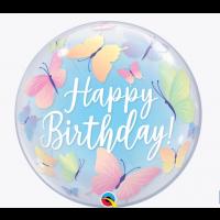 """Happy Birthday Pretty Butterflies - 22"""" Single Bubble"""