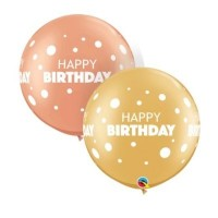 "Happy Birthday Dots - 30"" Round Rose Gold and Gold 2ct Latex Balloons"