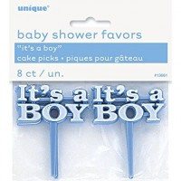 "IT'S A BOY BLUE CAKE PICKS 2.5"" 8Ct"
