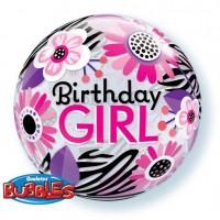 "Birthday Girl Floral Zebra Stripes 22"" Bubble"