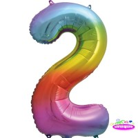 "34"" Rainbow Number 2 - Foil Balloon"