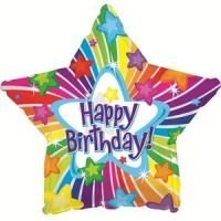 "Happy Birthday Multi-Colour Star 18"" Foil Balloon"