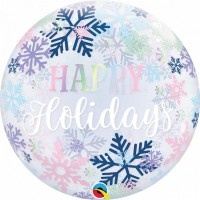 "Happy Holidays Snowflakes Single 22"" Bubble"