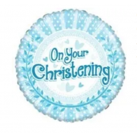 """Blue with White Dots """"On Your Christening Day"""" 18"""" Foil Balloon"""