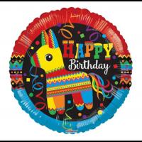 "Happy Birthday Fiesta Themed 18"" Foil Balloon"