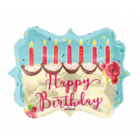 """Happy Birthday - Cake and Candles 18"""" Foil Balloon"""