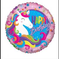 "Colourful Unicorn ""Happy Birthday"" 18"" Foil Balloon"