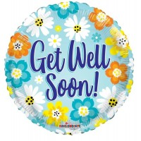 "Get Well Soon Blue With Flowers 18"" Foil Balloon"