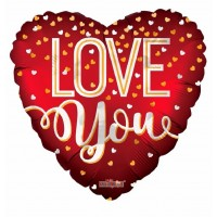 "Love You Red Heart Shaped 36"" Foil Balloon"