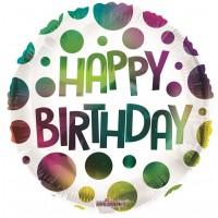 "Happy Birthday Multi Colour Dots 18"" Foil Balloon"