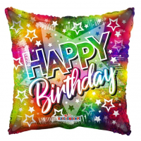 """Happy Birthday - Holographic Square Shaped 18"""" Foil Balloon"""