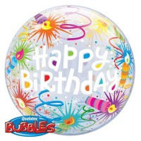 "Birthday Lit Candles 22"" Single Bubble"