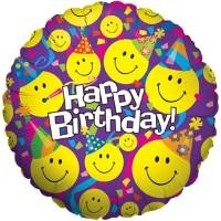 "Happy Birthday Smiley Face 18"" Foil Balloon"
