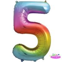"34"" Rainbow Number 5 - Foil Balloon"