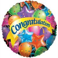 "Congratulations - Balloons + Stars - 18"" foil balloon"