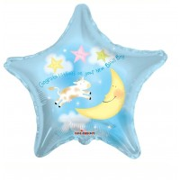 """Congratulations On Your New Baby Boy - The Cow Jumping Over the Moon 18"""" Foil Balloon"""
