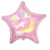 """Congratulations On Your New Baby Girl - The Cow Jumping Over the Moon 18"""" Foil Balloon"""