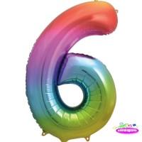 "34"" Rainbow Number 6 - Foil Balloon"