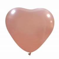"Metallic Rose Gold Superior Heart 17"" Latex Balloon 10Ct"