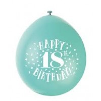 "Happy 18th Birthday 9"" Latex Air Fill Balloon - Assorted Colours, Printed 1 Side - 10ct."