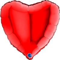 "Heart 18"" Red Foil Balloon GRABO Flat"