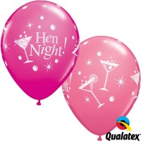 "Hen Night Bubbly 11"" Wild Berry & Rose (25CT)"