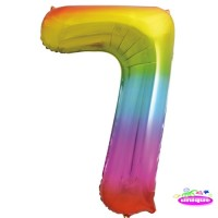 "34"" Rainbow Number 7 - Foil Balloon"