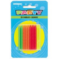 Neon Birthday Candles Multi (20ct) - Pack of 12