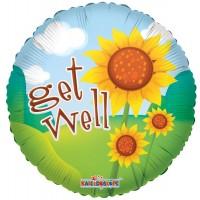 "Get Well Bright Sunflowers - 18"" foil balloon"