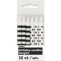 Midnight Black Stripes & Dots Birthday Candles 12CT.