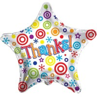"Thanks - Star Shaped - 18"" Foil Balloon"