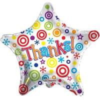 "Thanks - Star Shaped - 18"" Foil Balloon"